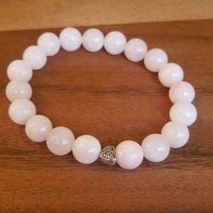 Pink Jade & Celtic Knot Heart Beads Bracelet